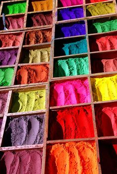 Colors of Nepal. This is tika used for Hindu festivals. Especially Holi where people bless each other with colours. World Of Color, Color Of Life, Nepal Kathmandu, Bhutan, Rainbow Colors, Rainbow Things, Travel Tours, India Travel, Beautiful World