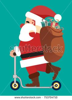 Santa Clause on a scooter. Christmas card and background illustration