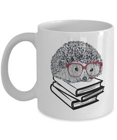 Amazon.com: Hedgehog Mug Book Nerd with Glasses Cute as Seen on Shirt-Funny Gift for Nerdy Geek Who Loves Reading: Kitchen & Dining