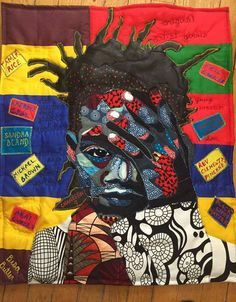 Jean Michel Basquiat quilt by Bisa Butler African Quilts, African Fabric, Harlem Renaissance Artists, African American Artist, Applique Fabric, Sewing Art, Black Artists, Black Women Art, Love Art