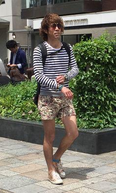 #mensfashion #aoyama #tokyofashion #spring2015 #flowershortpants #borderlongsleeve #tshirt