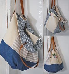 eryn bags original handmade bags | Predané Patchwork Bags, Quilted Bag, Best Tote Bags, Recycle Jeans, Creation Couture, Linen Bag, Simple Bags, Denim Bag, Fabric Bags