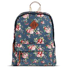 Women's Floral Print Backpack Handbag - Blue