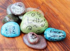 Glittering Garden Rocks   Learn how to paint rocks with this precious, glitter craft. Great for gardens!