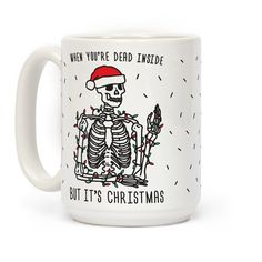 "Try your hardest to celebrate the holidays this funny, skeleton christmas design featuring the text ""When You're Dead Inside But It's Christmas"" with a skeleton wearing Christmas lights and a santa hat! Perfect for when you're dead inside, Christmas humor, holiday jokes, and a sassy Christmas!"