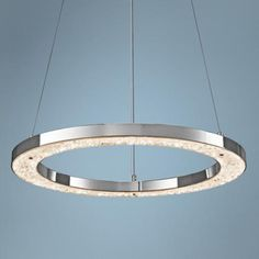"Elan Crushed Ice 24"" Wide Chrome LED Pendant Light - #6T717 