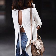 Sweater: tumblr white open back backless backless bag nude bag chloe bag chloe tassel denim