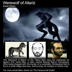 "Manuel Blanco Romasanta - The Werewolf of Allariz. ""Manuel made the… Mythological Creatures, Mythical Creatures, Scary Ghost Stories, Weird Stories, Legends And Myths, Scary Legends, Creepy Facts, Creepy Stuff, Strange History"