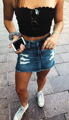 831c6f4c59 1117 Best Denim skirt outfits images in 2019 | Fashion clothes ...