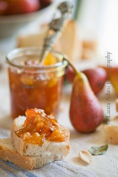 red pears jam with calvados, cinnamon and almond