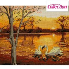 Swan Lake Cross Stitch Kit: beautiful Maria Diaz design available in evenweave and aida!