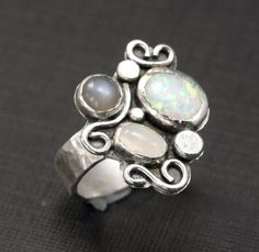 Etsy Jewelry Rings Moonstone   Opal and Moonstone Ring One of a Kind Sterling by RoxysJewelry,