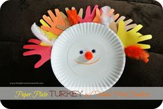 Paper Plate Craft: Turkey with Hand Print Feathers! #elmersacademy