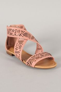 831dea02b4a2 Breckelle Covina-02 Cut Out Criss Cross Open Toe Flat Sandal