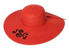 Monogrammed Sun Hat - Ladies Floppy Hat - Game Day Red!