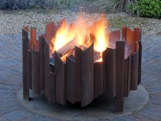 magma fire pit with fire MAGMA fire pit, each Magma artisan contemporary firepit ordered is unique, bespoke sizes available