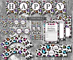 DIY Rainbow and White Leopard Print, Cheetah Print, Birthday Party Decorations Package Digital Printable PDFs With Banner Numbers Leopard Birthday Parties, Cheetah Birthday, Leopard Print Party, Animal Print Party, Cheetah Print, Happy Birthday Gifts, Happy Party, 11th Birthday, Happy Birthday Banners
