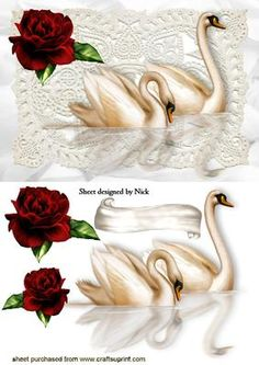 PRETTY RED ROSE ON LACE WITH SWANS on Craftsuprint - Add To Basket! Step Cards, Quick Cards, Decoupage Paper, Decoupage Ideas, 3d Paper, Paper Crafts, 3d Sheets, 3d Cards, Heartfelt Creations