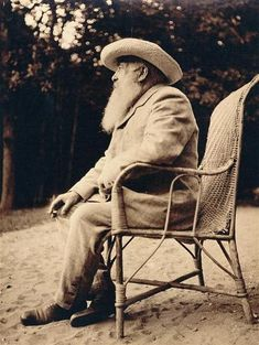 Claude Monet, in the garden of Giverny, 1915 -by Sacha Guitry
