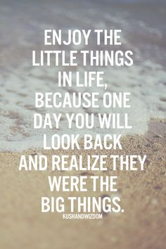 Enjoy the little things in life, because one day you'll look back and realize they were the big things.