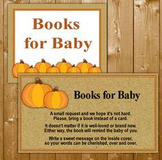 Little Pumpkin Books for Baby Shower Invitation Insert, Baby Shower Books for Pumpkin Baby Shower, SN003B, Instant Download