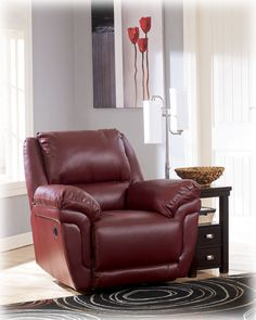Shop for Signature Design by Ashley Magician DuraBlend Garnet Rocker Recliner. Get free delivery On EVERYTHING* Overstock - Your Online Furniture Shop! Grey Leather Reclining Sofa, Leather Recliner, Rocker Recliner Chair, Sofa And Loveseat Set, Home Living Room, Home Furnishings, Home Furniture, Garnet, Signature Design