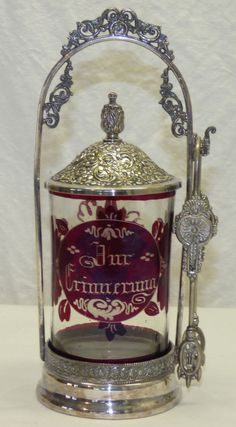 Antique Victorian Silver Plated Pickle Castor w/ Ruby Red Bohemian Glass Insert