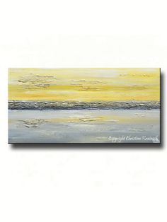 """""""Coastal Reflections"""" Yellow and grey abstract painting, giclee print, fine art coastal wall art modern canvas prints to enhance home decor, interior design. – Browse stunning contemporary gallery art by Internationally Collected Artist, Christine Krainock"""