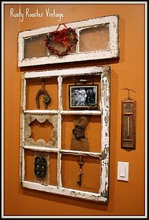 Repurpose vintage old windows as picture frames and collage holders for keys, tokens and more collectibles;