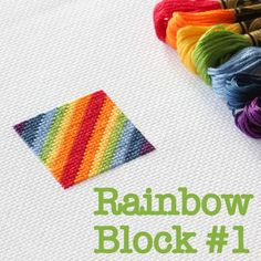 The first of a new series: Cross Stitch Rainbow Blocks - with free chart so you can stitch too!
