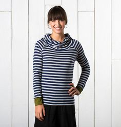 Women's Stripe Out Boat Twist Tee ~ Organic Cotton Long Sleeve Tee by Horny Toad