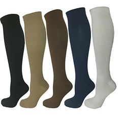 Ladies Compression Socks, Moderate/Medium Compression 15-20 mmHg. Therapeutic, Occupational, Travel & Flight Knee-High Socks. 5 Pair Pack, Assorted Colors (Fits Women's Shoe Sizes 5-10), http://www.amazon.com/dp/B01DLDWY74/ref=cm_sw_r_pi_awdm_X.RwxbVPGMSAG