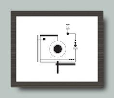 Black and White Camera Geometric Print 8x10 by cassandrazetta