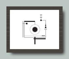 Black and White Camera Geometric Print 8x10 by cassandrazetta