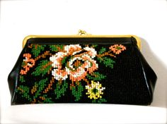 Vintage 1970s Floral Embroidered Clutch Black by jacquelynmaria, $24.00