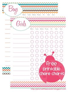 Pinch A Little Save-A-Lot: Free Printable: Kids Chore Charts