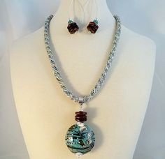 Kumihimo And Lampwork Pendant Necklace Earrings by JewelrybyPJ