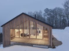 House at the owl forest in vorarlberg timber art Timber Architecture, Sustainable Architecture, Architecture Design, Contemporary House Plans, Modern House Design, Modern Wooden House, Building Design, Building A House, Timber House