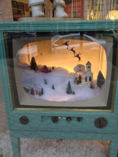 Vintage Winter Wonderland Television Display