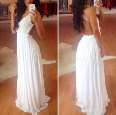 White Flowers Condole Belt Lace Splicing Open Back V-neck Sleeveless Sexy Party Maxi Dress