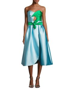 TVJ21 Milly Haley Strapless Double-Face Satin Cocktail Dress, Blue