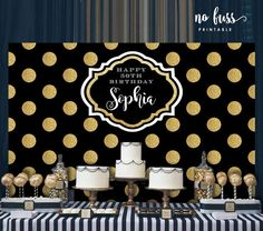 Polka Dot Black and Gold Backdrop Adults Party Banner Cheap Party Decorations, Birthday Table Decorations, Birthday Backdrop, Wedding Decorations, 50th Party, Gold Party, Gold Backdrop, Happy 50th Birthday, Milestone Birthdays