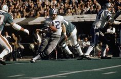 Super Bowl VI  January 16, 1972 in Tulane Stadium:  The Cowboys rush for a record 252 yards. Super Bowl VI MVP Roger Staubach completes 12 of 19 passes for 199 yards and two touchdowns.   Staubach holds the #3 All-Time Super Bowl Touchdown Passes in a Career record with eight (at Dallas in four Super Bowl appearances).  (Getty Images)