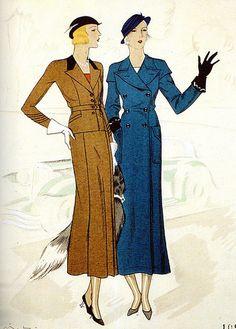 1938 Fashion, Fashion Now, Retro Fashion, Vintage Fashion, Womens Fashion, Motif Vintage, Vintage Patterns, Vintage Sewing, Vintage Dresses