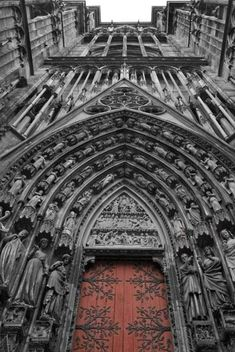 Strasbourg Cathedral in Strasbourg, France is widely considered to be among the. Strasbourg Cathedral in Strasbourg, France is widely considered to be among the finest examples of high, or late, Gothic architecture Source by sky_al. Architecture Antique, Art Et Architecture, Beautiful Architecture, Beautiful Buildings, Architecture Details, Cathedral Architecture, Romanesque Architecture, Strasbourg Cathedral, Cathedral Church