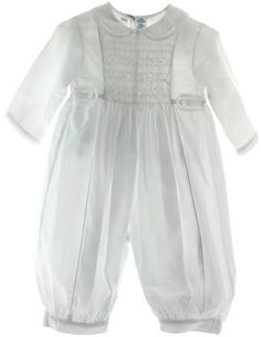 Beautiful infant boys solid white Baptism Christening romper with white smocking on the chest has round Peter Pan collar and side tabs with faggoting design. Beautiful infant boys smocked long sleeve pleated one piece romper makes a perfect Christening or take home outfit for baby boy.