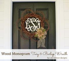 Burlap Covered Mason Jars | Monogrammed Door Wreath :: Uncommon