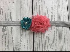 Teal, Coral, and Gray Headband #Handmadeheadbands