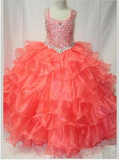 Wholesale - 2015 Stunning Tank Strap Beaded Organza Layered Ball Gown Pageant Dress Coral Little Rosie Girls Pageant Gowns, $115.05 | DHgate.com