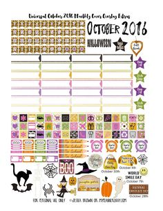 October 2016 Monthly Overlay and Extras - Free Planner Printable